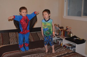 Spider boy and dino boy challenge gravity